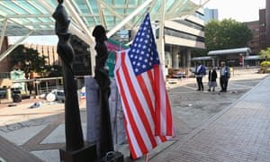 A US flag on the campus of the Hong Kong Polytechnic University in the Hung Hom district of Hong Kong on 21 November 21. Hardline Hong Kong protesters held their ground in a university besieged for days by police as the US passed a bill lauding the city's pro-democracy movement.