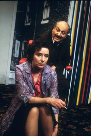 Linda Bassett and Nadim Sawalha in East Is East by Ayub Khan Din, directed by Kristine Landon-Smith, in 1996.