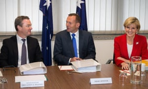 (L to R) Education Minister Christopher Pyne, Prime Minister Tony Abbott and Foreign Minister Julie Bishop during a federal Cabinet meeting in Adelaide, Tuesday, Aug 4, 2015.