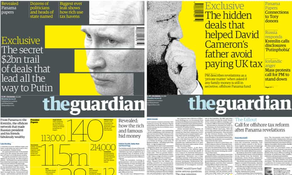 Guardian front pages featuring revelations from the Panama Papers