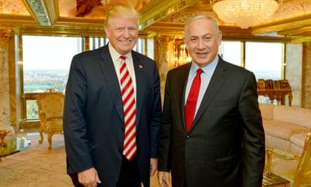 Donald Trump with Israel's Benjamin Netanyahu in New York.