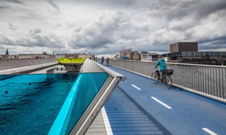Inderhavnsbroen (lit.: The Inner Harbour Bridge) is a bridge across the Copenhagen inner harbour and is a 180 metres (590 ft) combined pedestrian and bicyclist bridge directed east-west.