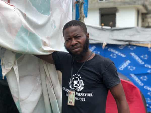 Jackson Mason outside his makeshift tent.
