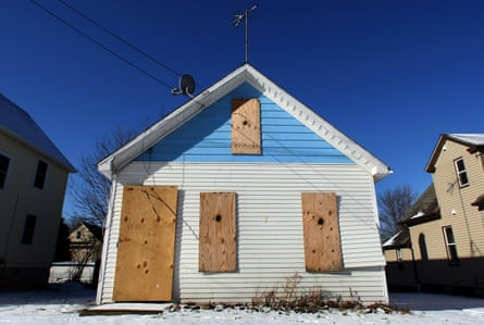 A boarded up building in the Mount Pleasant section of Cleveland, Ohio, one of the epicenter of the nation's 2008 home foreclosure crisis.