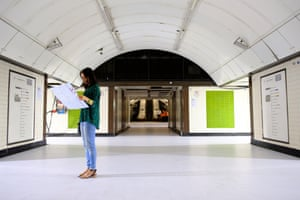 Artist Koo Jeong A at the disused Jubilee Line in Charing Cross station on Art Night.