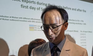 Professor Joseph Wu, Division of Epidemiology and Biostatistics, School of Public Health, HKUMed, attends a news conference on the Wuhan coronavirus outbreak January.