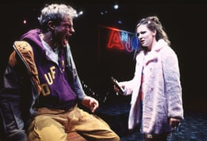 Andrew Clover and Kate Ashfield in Shopping and Fucking by Mark Ravenhill, directed by Max Stafford-Clark, in 1996.