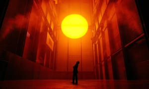 Olafur Eliasson with his installation The Weather Project in the Turbine Hall of Tate Modern.
