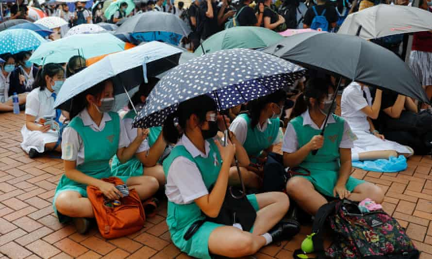 Students protest at Edinburgh Place in Hong Kong on Monday.