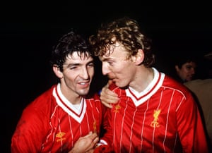 Rossi with Juve teammate Zbigniew Boniek after beating Liverpool in the 1984 European Super Cup.
