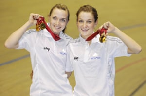 Victoria Pendleton (on left) and Lizzie Armitstead at the track cycling world championships in 2008