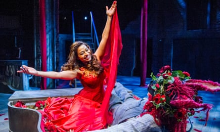 Ayesha Dharker (Titania) and Chris Clarke (Bottom) in A Midsummer Night's Dream by the RSC.