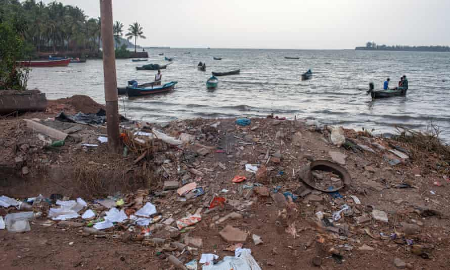 Rubbish strewn on the beach in the fishing village of Badem, next to Vagator, Goa.
