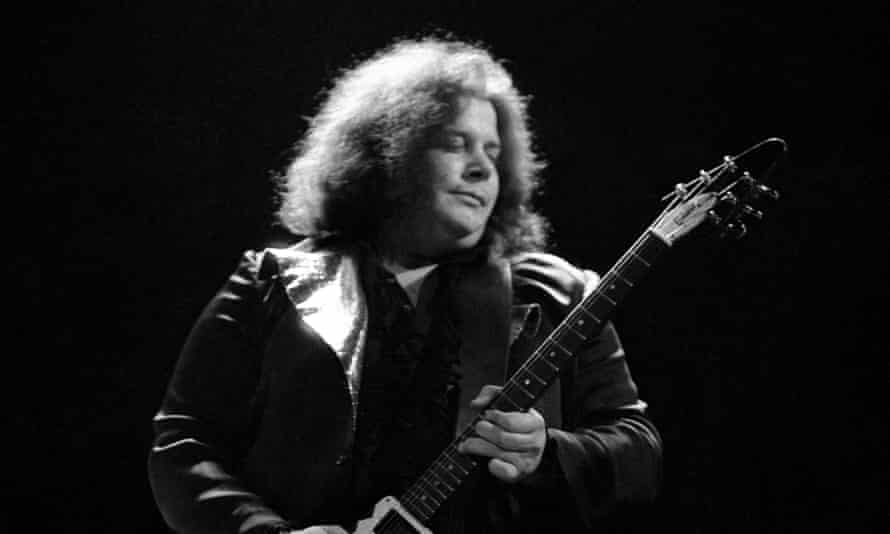 Leslie West playing at the Rainbow theatre in London in 1973.