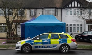Police set up a cordon outside Glushkov's suburban home following his death in March.