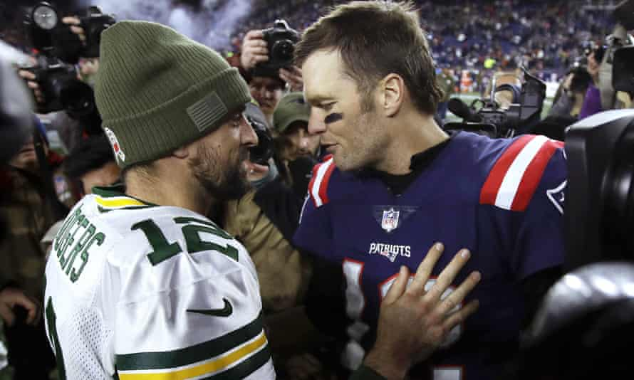 Aaron Rodgers and Tom Brady greet each other after the Patriots beat the Packers on Sunday night