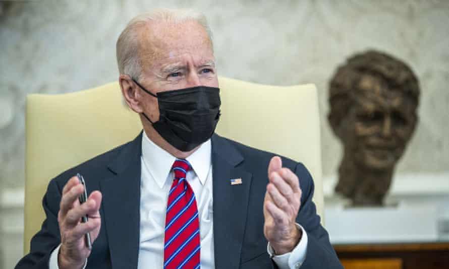Joe Biden in the Oval Office on 29 January.