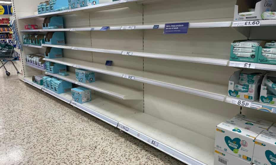 Empty supermarket shelves are seen in the UK as the effects of Brexit and other factors hit home.