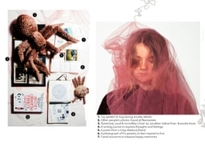 woman in a smokey red veil and her mental health kit