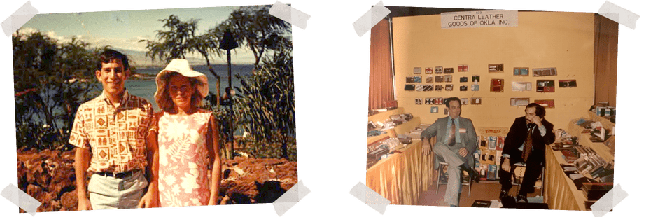 Left: Dad with his mom in Hawaii on his first around the world trip. He was 16, circa 1967. Right: Dad, on the phone, and his colleague at the company's booth at a wallets and clothing trade show in Los Angeles, circa 1973.