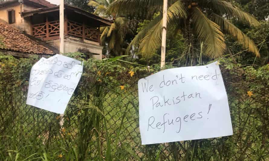 Protests outside a house in Sri Lanka were Muslims are under police protection.