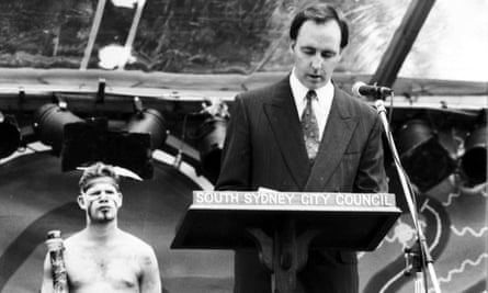 'The black crowd was initially pretty cynical about neophyte PM Keating' Former Australian prime minister, Paul Keating, delivers a speech in Redfern, Sydney, 10 December 1992.