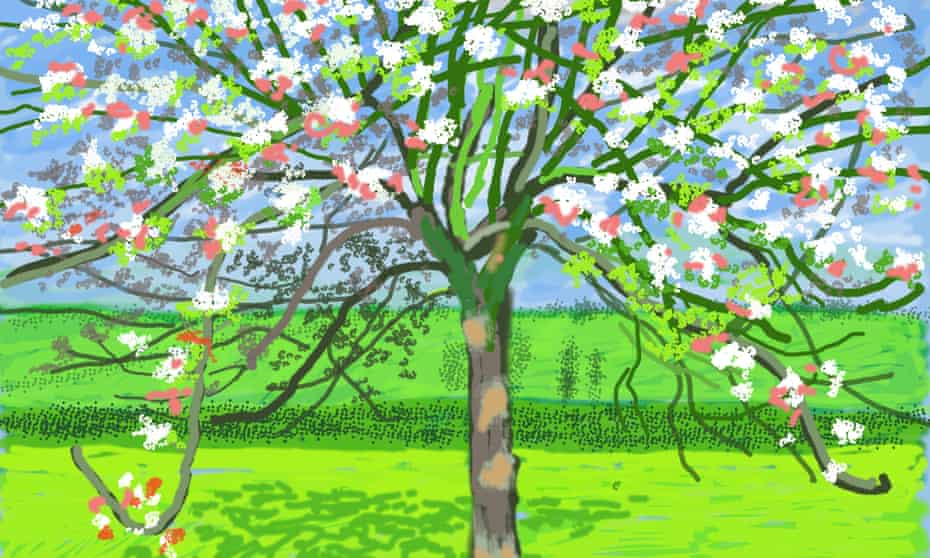 David Hockney painting of a large tree in bloom in a garden