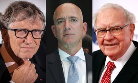 Composite showing Bill Gates, Jeff Bezos and Warren Buffet