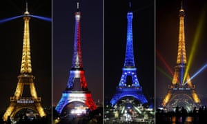 Four shots of the Eiffel Tower marking different events.