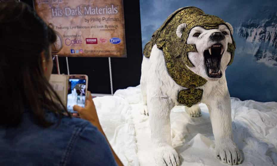 Life-sized model of Iorek the armoured bear, a character from Philip Pullman's His Dark Materials.