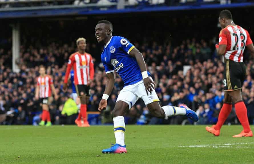 Everton's Idrissa Gueye after his goal.