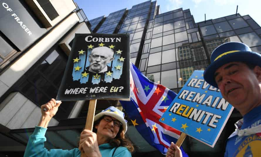 Pro-EU campaigners outside the Labour party's national executive committee offices in central London.