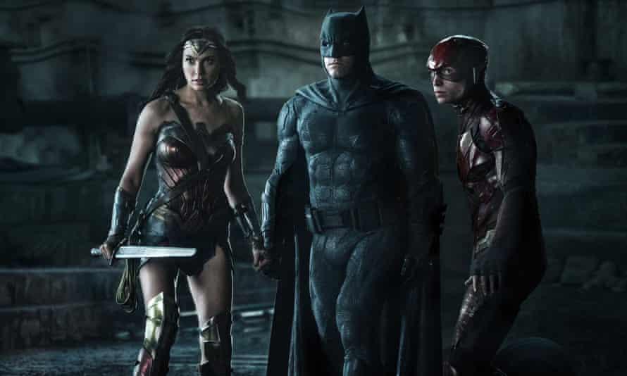 Gal Gadot, Ben Affleck and Ezra Miller in Justice League.
