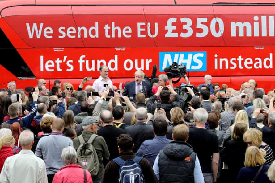 Boris Johnson (centre), Douglas Carswell and Gisela Stuart with the notorious Vote Leave bus in 2016.