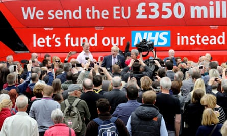 Douglas Carswell, Boris Johnson and Gisela Stuart speaking to supporters in front of the Vote Leave bus