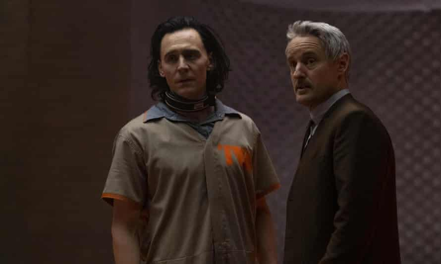 Clearly having a whale of a time ... Owen Wilson and Tom Hiddleston in Loki.