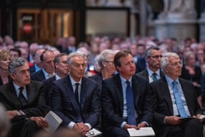 London, England Former Prime Ministers Gordon Brown, Tony Blair, David Cameron and John Major attend a Service of Thanksgiving for the life and work of Paddy Ashdown, former leader of the Liberal Democrats at Westminster Abbey
