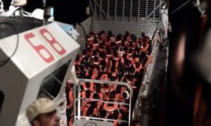 Rescued migrants on the Aquarius