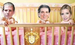 Ivana and the Donald's offspring Eric, Donald Jr and Ivanka as babies in a cot