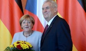 Miloš Zeman with Angela Merkel