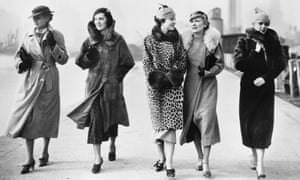 A group of women in winter coats, circa 1935.
