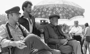 Michael Caine, Sylvester Stallone and John Huston on the set of Escape to Victory.