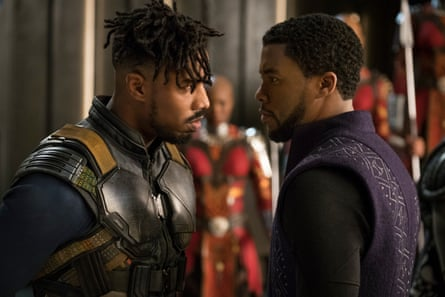 Michael B Jordan, left, as Erik Killmonger faces off with T'Challa, or Black Panther, played by Chadwick Boseman.