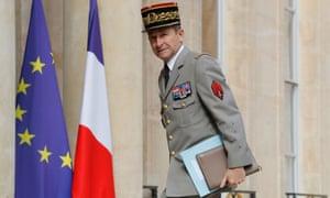 Gen Pierre de Villiers arrives at the Élysée Palace in Paris on 13 July.