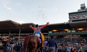 Irad Ortiz celebrates after winning the Breeders' Cup Classic on Vino Rosso.