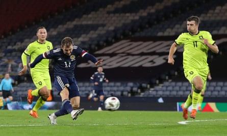 Ryan Fraser puts Scotland in front against the Czech Republic at Hampden Park.