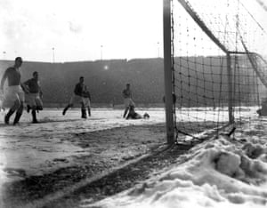 Blackpool scoring in the snow at Stamford Bridge in 1947.