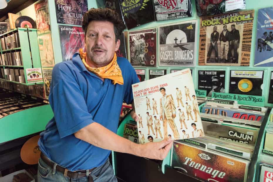 In Sounds that Swing record shop in Camden, regular customer and Elvis fan Nick Martin.