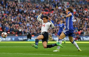 Dele Alli beats David Luiz to the ball and fires home.
