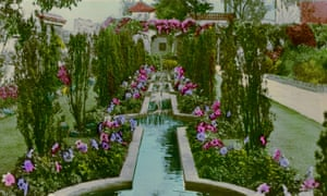 A hand-painted photograph of the Kensington Roof Gardens in west London